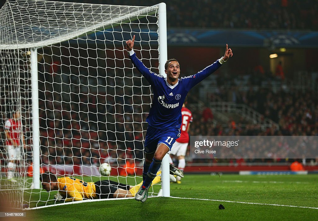 Ibrahim Afellay of Schalke 04 celebrates scoring their second goal during the UEFA Champions League Group B match between Arsenal and FC Schalke at the Emirates Stadium on October 24, 2012 in London, England.