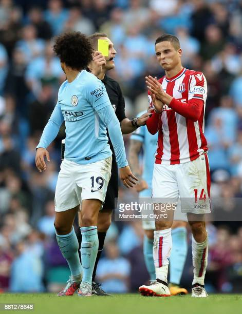 Ibrahim Afellay of Stoke City and Leroy Sane of Manchester City exchange words during the Premier League match between Manchester City and Stoke City...