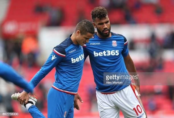 Ibrahim Afellay of Stoke City and Maxim ChoupoMoting of Stoke City warm up prior to the Premier League match between Stoke City and Chelsea at Bet365...