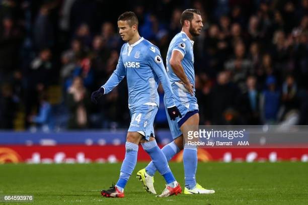 Ibrahim Afellay of Stoke City dejected at full time during the Premier League match between Burnley and Stoke City at Turf Moor on April 4 2017 in...