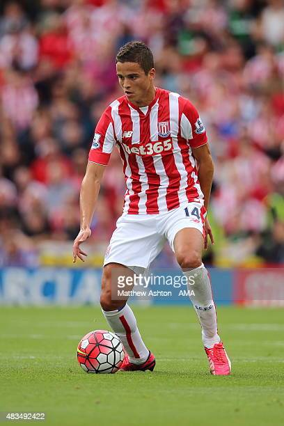 Ibrahim Afellay of Stoke City during the Barclays Premier League match between Stoke City and Liverpool at the Britannia Stadium on August 09 2015 in...