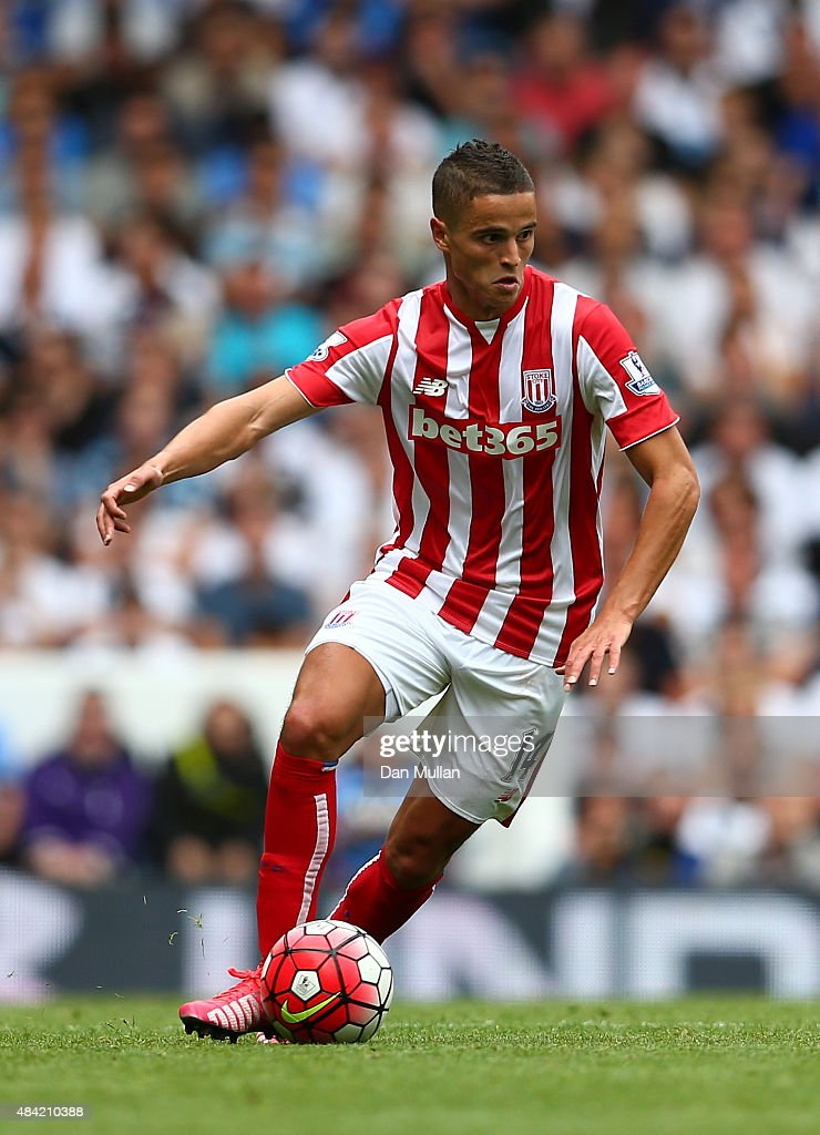 <a gi-track='captionPersonalityLinkClicked' href=/galleries/search?phrase=Ibrahim+Afellay&family=editorial&specificpeople=837737 ng-click='$event.stopPropagation()'>Ibrahim Afellay</a> of Stoke City in action during the Barclays Premier League match between Tottenham Hotspur and Stoke City on August 15, 2015 in London, United Kingdom.