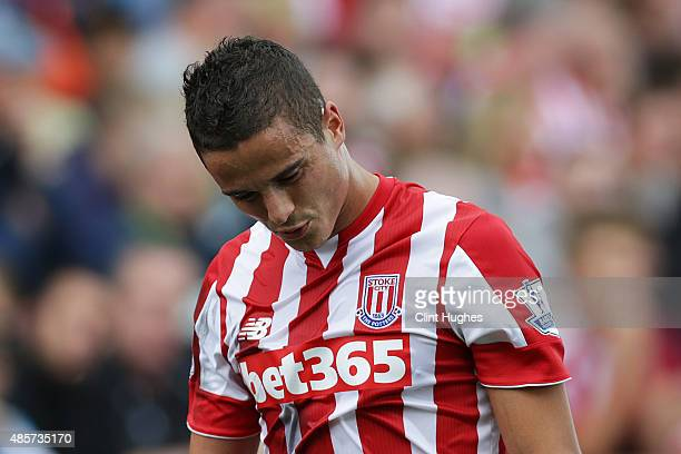 Ibrahim Afellay of Stoke City walks off the field after being sent off during the Barclays Premier League match between Stoke City and West Bromwich...