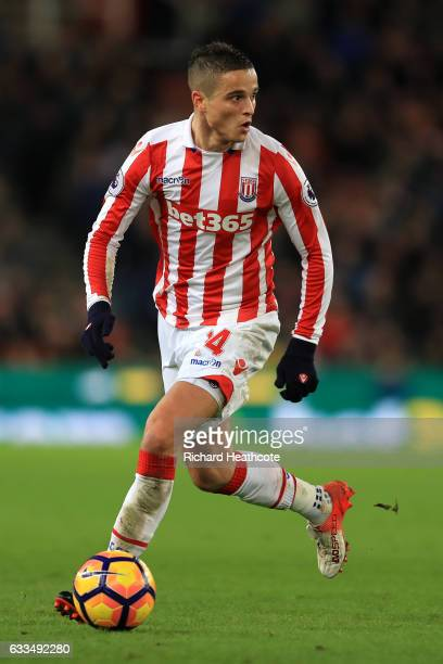 Ibrahim Afellay of Stoke in action during the Premier League match between Stoke City and Everton at Bet365 Stadium on February 1 2017 in Stoke on...