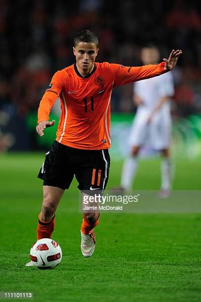 Ibrahim Afellay of the Netherlands in action during the Group E EURO 2012 Qualifier between Netherlands and Hungary at the Amsterdam Arena on March...