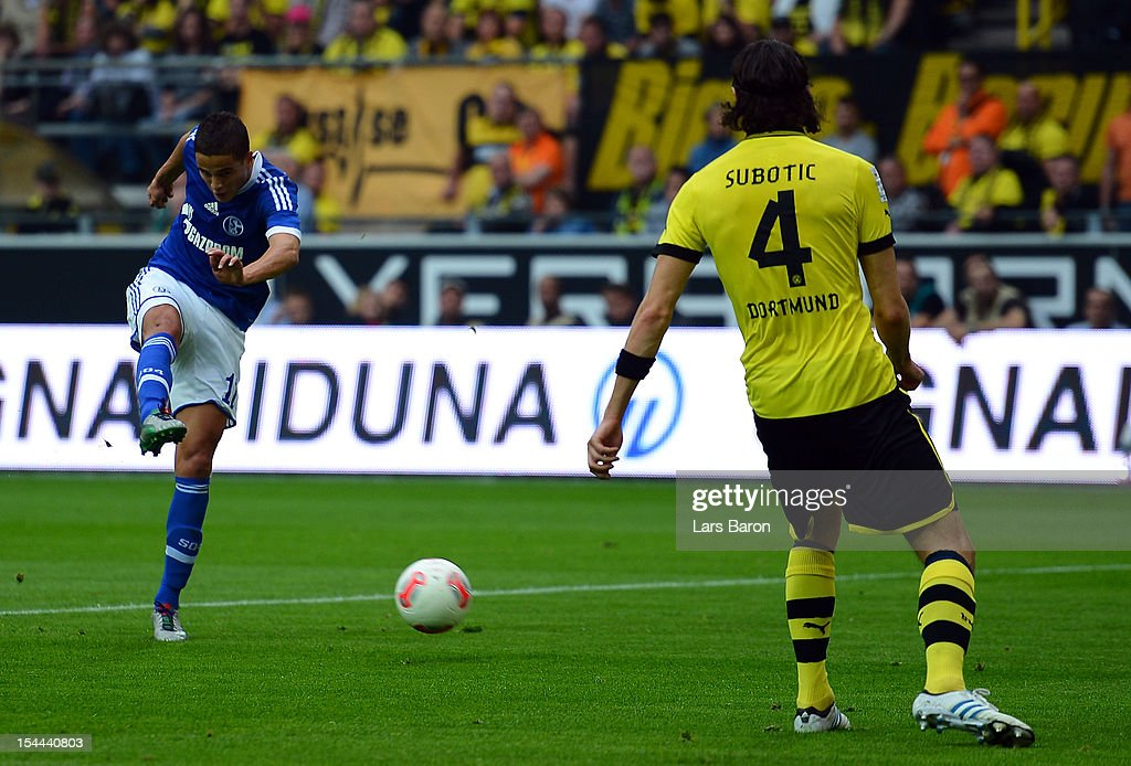 Ibrahim Affelay of Schalke scores his teams first goal during the Bundesliga match between Borussia Dortmund and FC Schalke 04 at Signal Iduna Park on October 20, 2012 in Dortmund, Germany.
