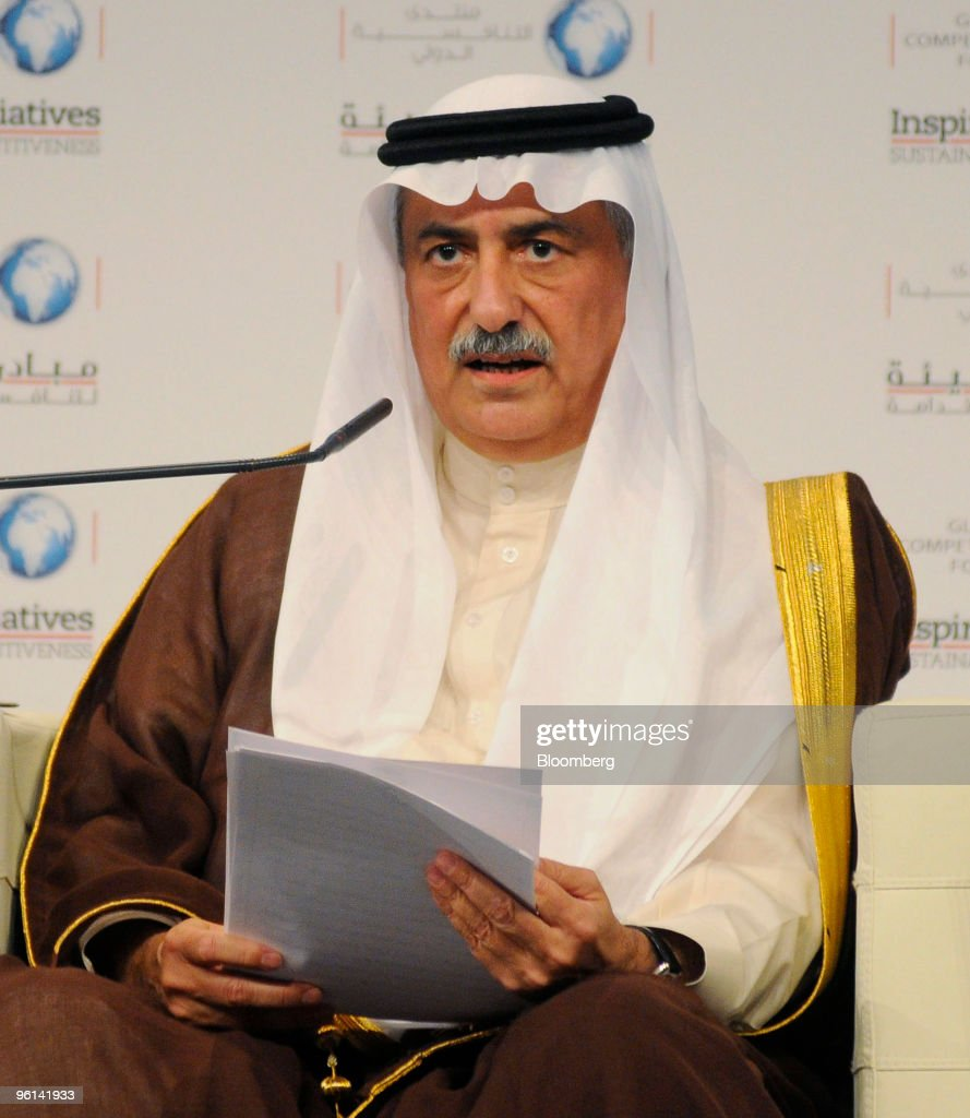 Ibrahim Al Assaf, finance minister of Saudi Arabia, speaks at the Global Competitiveness Forum in Riyadh, Saudi Arabia, on Sunday, Jan. 24, 2010. The forum was founded in 2006 by the Saudi Arabian General Investment Authority. Photographer: Charles Crowell/Bloomberg via Getty Images