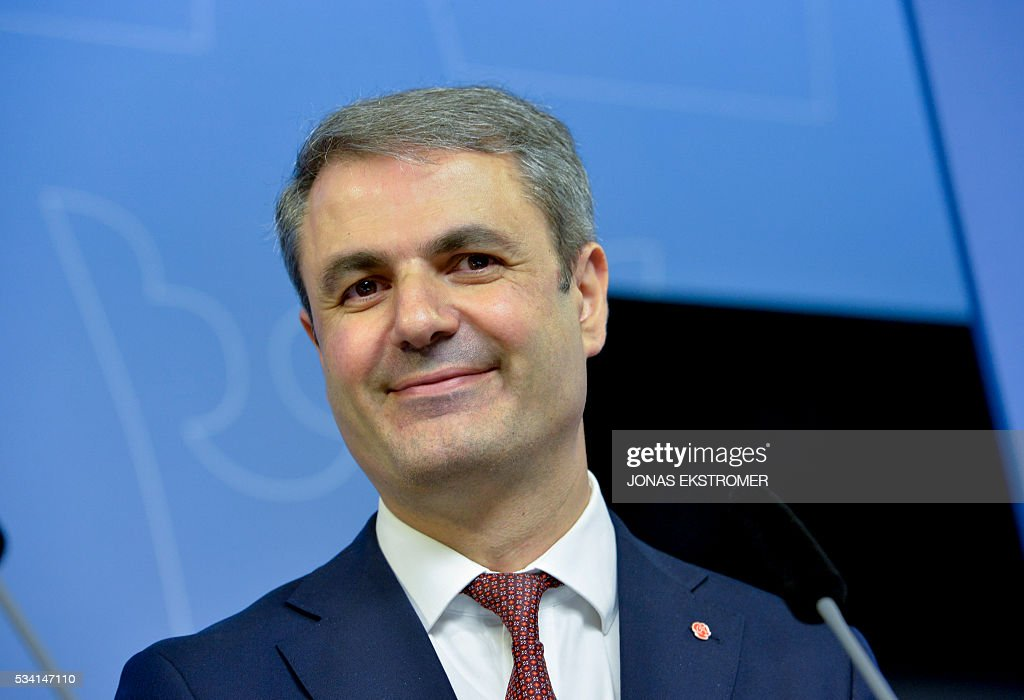 Ibrahim Baylan, Sweden's new Minister for coordination and energy attends a press conference after a government reshuffle on May 25, 2016 in Stockholm. News Agency / Jonas EKSTROMER / Sweden OUT
