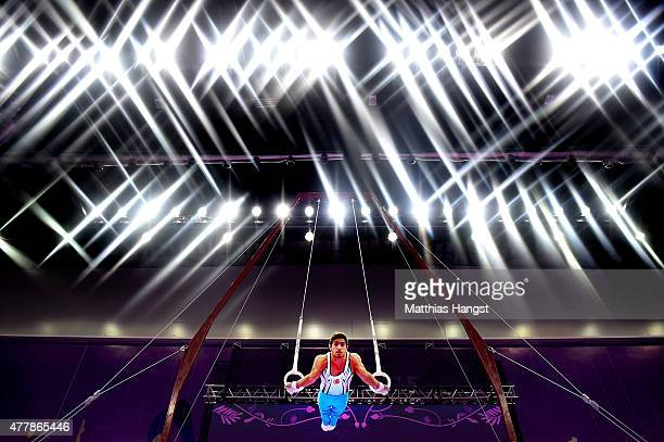 Ibrahim Colak of Turkey competes in the Men's Rings final on day eight of the Baku 2015 European Games at the National Gymnastics Arena on June 20...