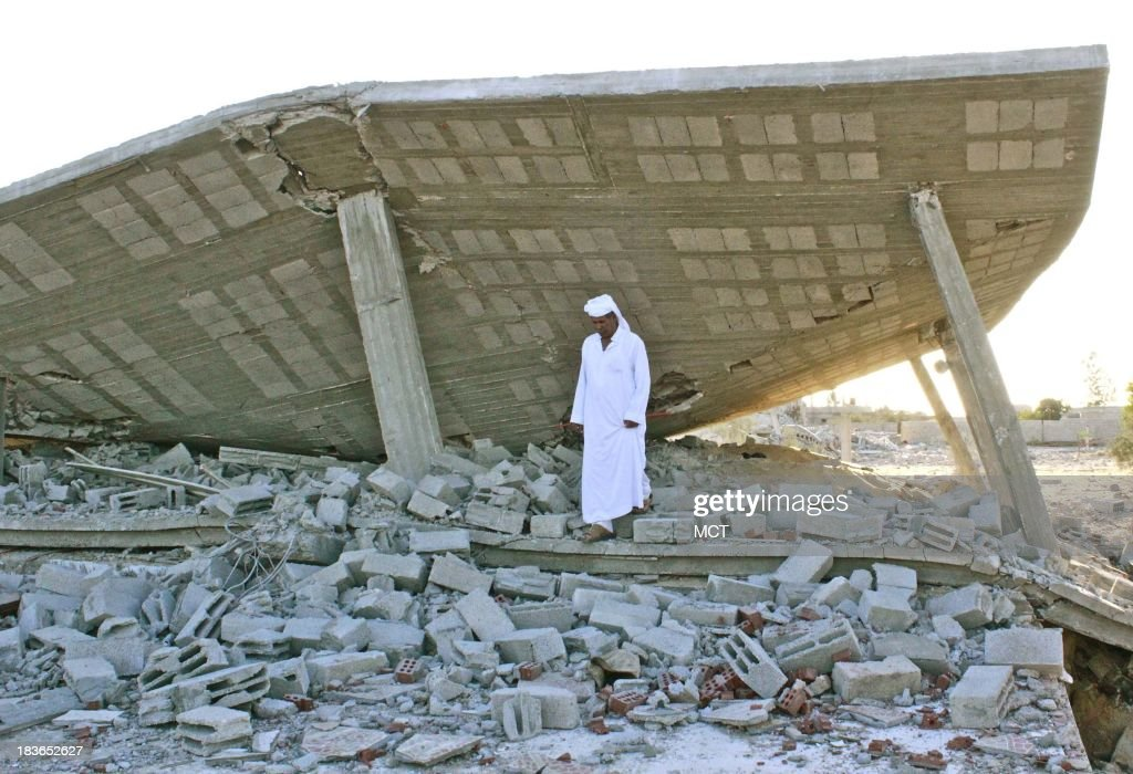 Ibrahim El-Menai, a powerful Bedouin leader from Al Sawarka tribe, stands in front of his demolished guesthouse, which is located just 5km away from the Egyptian-Israeli boarder. Sheik Ibrahim believes he was targeted because he spoke publicly against the military offensive.