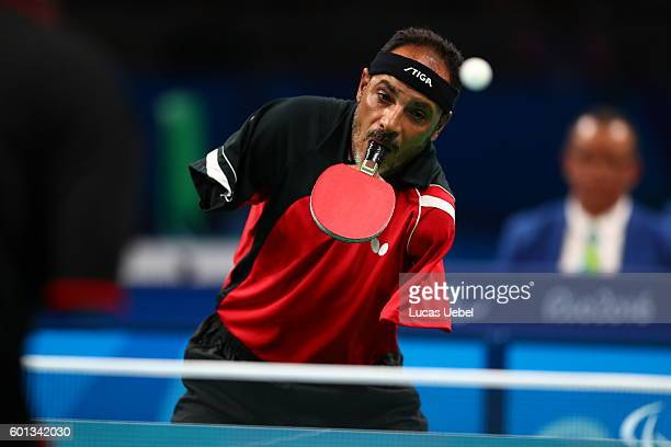 Ibrahim Hamadtou of Egypt competes in the men's singles Table Tennis Class 6 on day 2 of the Rio 2016 Paralympic Games at Riocentro Pavilion 3 on...