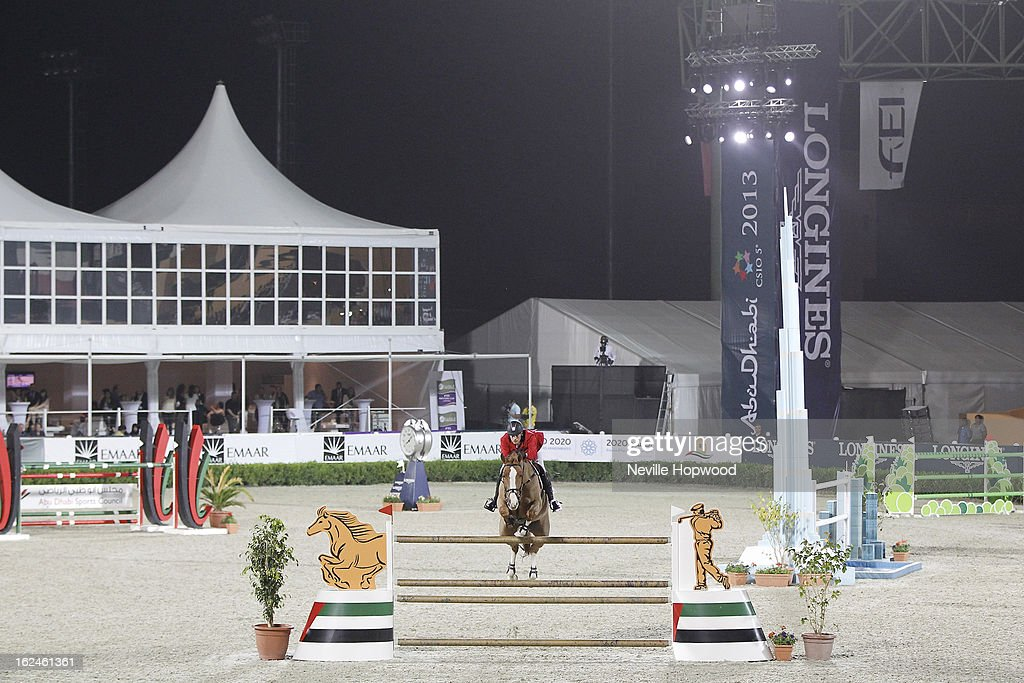 Ibrahim Hani Bisharat of Jordan rides Kirfa De Kreisker during the President of the UAE Showjumping Cup - Furusiyyah Nations Cup Series presented by Longines on February 23, 2013 in Al Ain, United Arab Emirates.