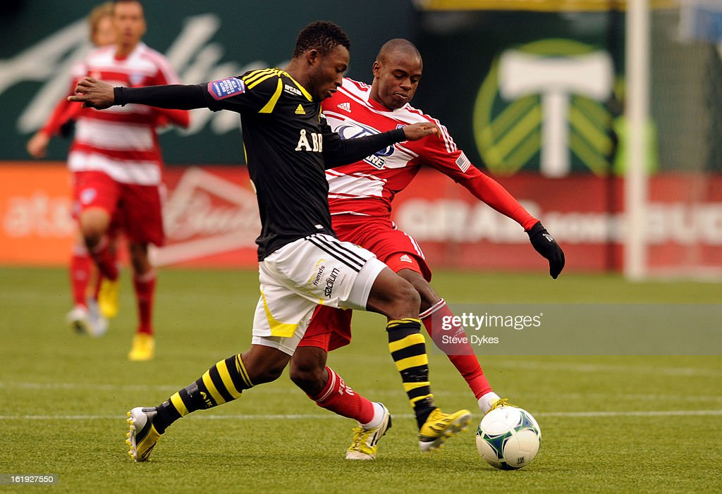Ibrahim Moro #20 of AIK steals the ball away from Jackson #6 of FC Dallas during the second half of the game at Jeld-Wen Field on February 17, 2013 in Portland, Oregon. The game ended in a 0-0 draw.