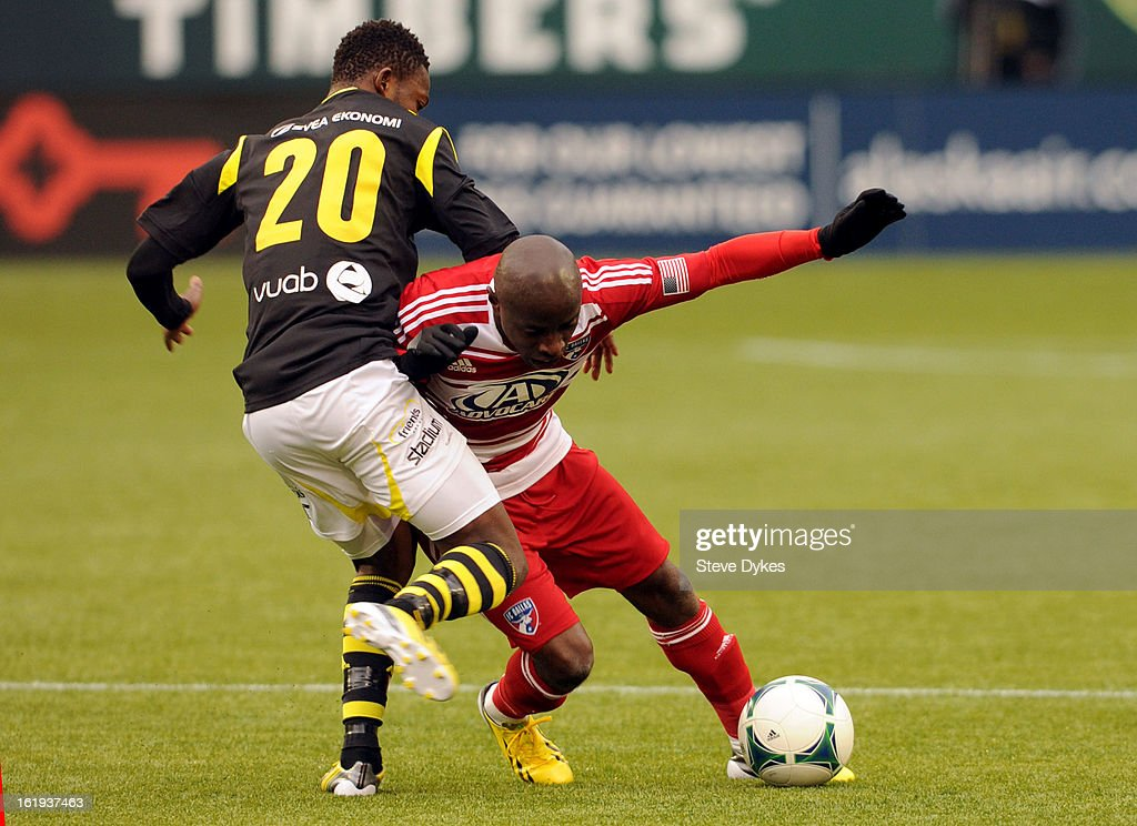 Ibrahim Moro #20 of AIK takes down <a gi-track='captionPersonalityLinkClicked' href=/galleries/search?phrase=Jair+Benitez&family=editorial&specificpeople=795974 ng-click='$event.stopPropagation()'>Jair Benitez</a> #5 of FC Dallas during the second half of the game at Jeld-Wen Field on February 17, 2013 in Portland, Oregon. The game ended in a 0-0 draw.