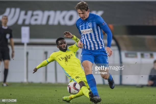 Ibrahim Rabiu of KAA Gent Sander Berge of KRC Genkduring the UEFA Europa League round of 16 match between KAA Gent and KRC Genk on March 09 2017 at...