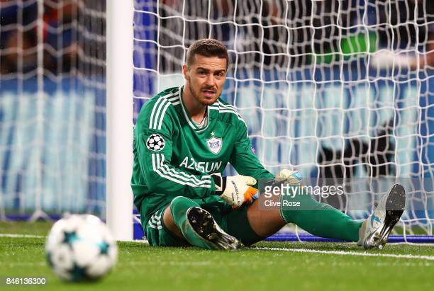Ibrahim Sehic of Qarabag FK reacts during the UEFA Champions League Group C match between Chelsea FC and Qarabag FK at Stamford Bridge on September...