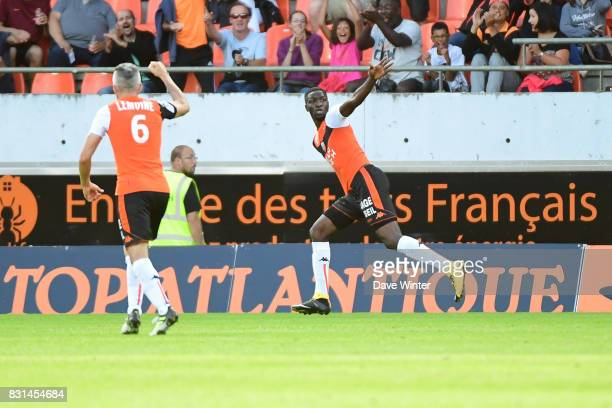 Ibrahim Sory Conte of Lorient celebrates putting his side 30 ahead during the Ligue 2 match between FC Lorient and Chateauroux at Stade du Moustoir...