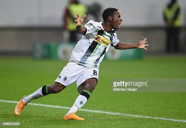 Ibrahim Traore of Gladbach celebrates after his team mate Thorgan Hazard of Gladbach scored the first goal during the DFB cup second round match...
