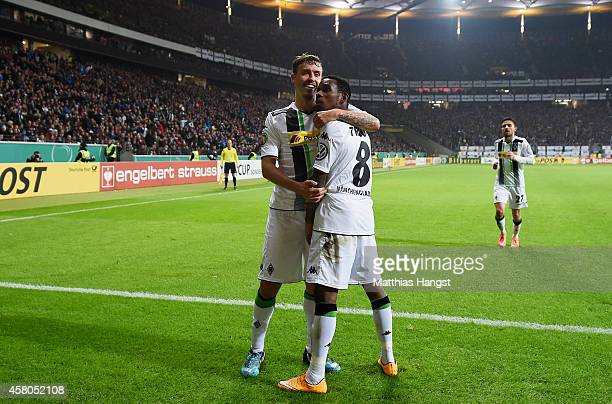 Ibrahim Traore of Gladbach celebrates after scoring his team's second goal during during the DFB cup second round match between Eintracht Frankfurt...
