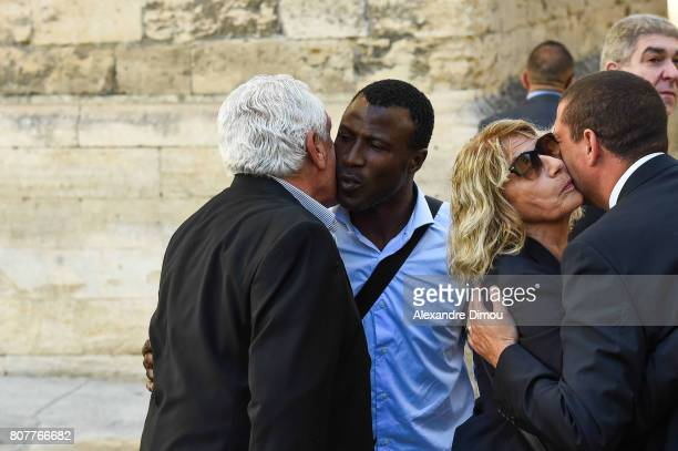 Ibrahima Bakayoko and Robert Nouzaret during Funeral of Montpellier Herault president Louis Nicollin on July 4 2017 in Montpellier France