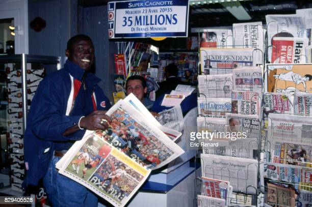 Ibrahima Bakayoko during a photoshoot in Newspapers Kiosk in Montpellier France on 21th April 1997