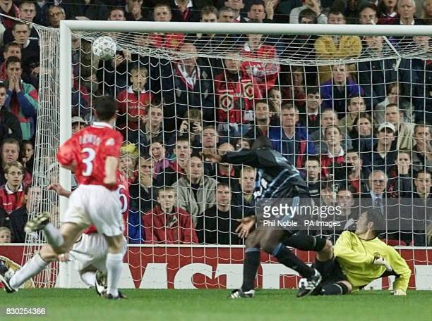 Ibrahima Bakayoko of Marseille runs away after scoring against Manchester United at Old Trafford in their Champions League match