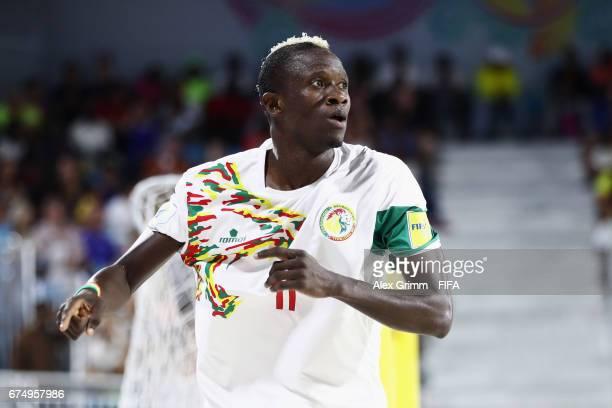 Ibrahima Balde of Senegal celebrates a goal during the FIFA Beach Soccer World Cup Bahamas 2017 group A match between Senegal and Bahamas at National...