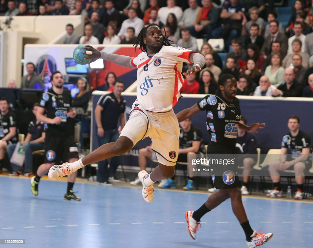 Ibrahima Diaw of PSG Handball in action during the handball's Division 1 match between Paris Saint-Germain Handball and Dunkerque at the Stade Pierre de Coubertin on March 7, 2013 in Paris, France.