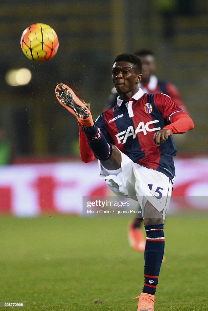 Ibrahima Mbaye # 15 of Bologna FC in action during the Serie A match between Bologna FC and ACF Fiorentina at Stadio Renato Dall'Ara on February 6, 2016 in Bologna, Italy.