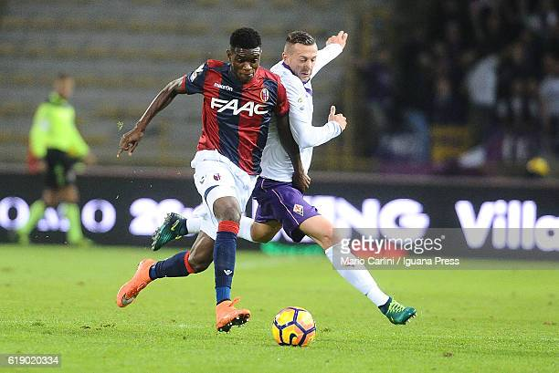 Ibrahima Mbaye of Bologna FC in action during the Serie A match betweenBologna FC and ACF Fiorentina at Stadio Renato Dall'Ara on October 29 2016 in...