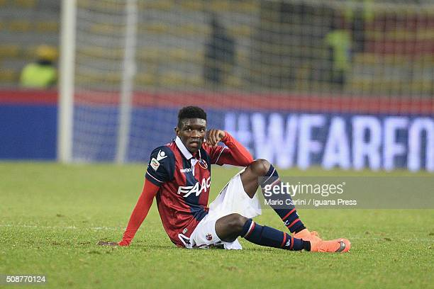 Ibrahima Mbaye of Bologna FC looks dejected at the end of the Serie A match between Bologna FC and ACF Fiorentina at Stadio Renato Dall'Ara on...