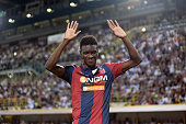Ibrahima Mbaye of Bologna FC shows his dejection after being sent off during the Serie B playoff final match between Bologna FC and Pescara Calcio at...