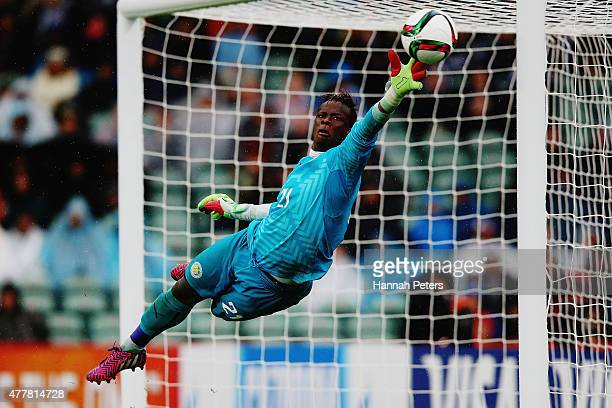 Ibrahima Sy of Senegal dives to save a goal during the FIFA U20 World Cup Third Place Playoff match between Senegal and Mali at North Harbour Stadium...