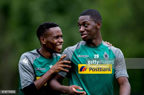 Ibrahima Traore and Mamadou Doucoure of Borussia Moenchengladbach during a training session at the Training Camp of Borussia Moenchengladbach on July...
