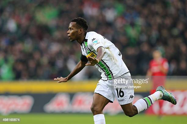Ibrahima Traore of Borussia Moenchengladbach celebrates after the first goal during the Bundesliga match between Borussia Moenchengladbach and...