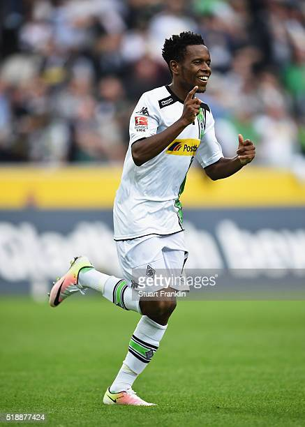 Ibrahima Traore of Borussia Moenchengladbach celebrates as he scores their fifth goal during the Bundesliga match between Borussia Moenchengladbach...