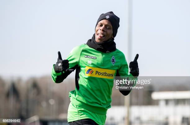 Ibrahima Traore of Borussia Moenchengladbach during a Training Session at BorussiaPark on March 22 2017 in Moenchengladbach Germany