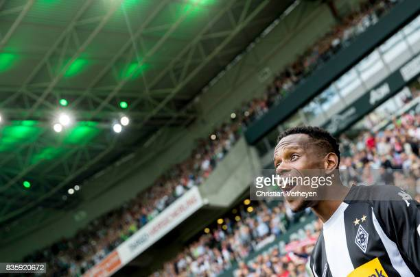 Ibrahima Traore of Borussia Moenchengladbach looks excited prior the Bundesliga match between Borussia Moenchengladbach and 1 FC Koeln at...