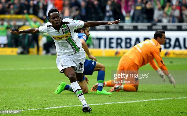 Ibrahima Traore of Moenchengladbach celebrates after scoring his teams second goal during the Bundesliga match between Borussia Moenchengladbach and...