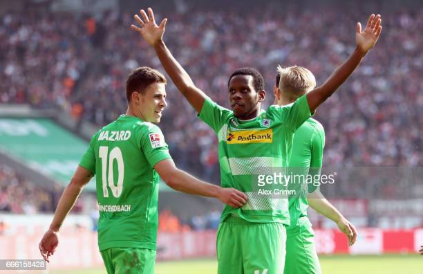 Ibrahima Traore of Moenchengladbach celebrates his team's second goal during the Bundesliga match between 1 FC Koeln and Borussia Moenchengladbach at...
