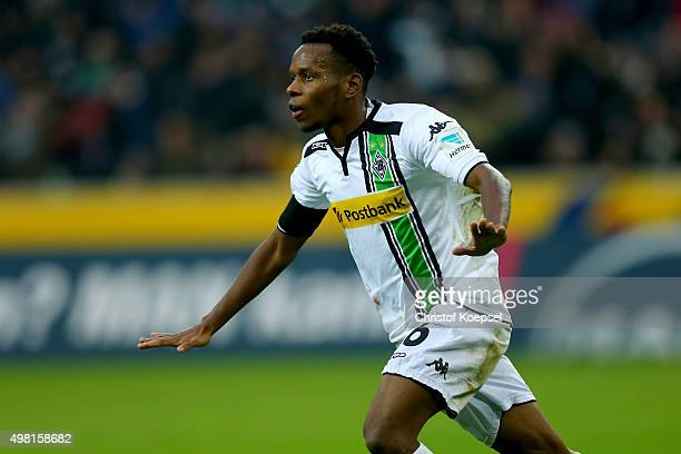 Ibrahima Traore of Moenchengladbach celebrates the first goal during the Bundesliga match between Borussia Moenchengladbach and Hannover 96 at...