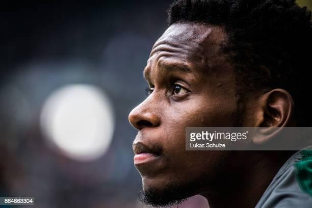 Ibrahima Traore of Moenchengladbach looks up prior to the Bundesliga match between Borussia Moenchengladbach and Bayer 04 Leverkusen at BorussiaPark...