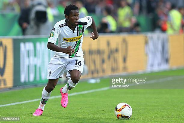 Ibrahima Traore of Moenchengladbach runs with the ball during the DFB Cup First Round match between FC StPauli and Borussia Moenchengladbach at...