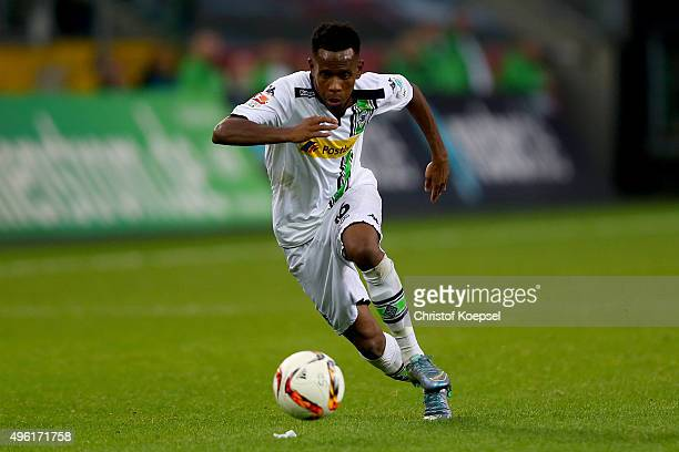 Ibrahima Traore of Moenchengladbach runs with the ball during the Bundesliga match between Borussia Moenchengladbach and FC Ingolstadt at...