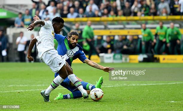 Ibrahima Traore of Moenchengladbach scores his teams second goal during the Bundesliga match between Borussia Moenchengladbach and VfL Wolfsburg at...