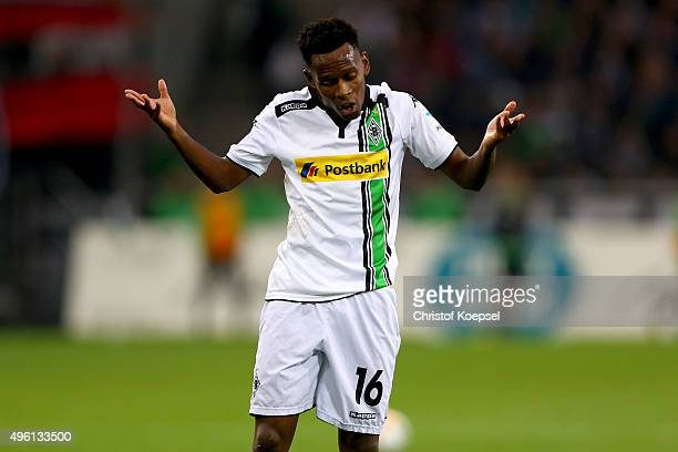 Ibrahima Traore of Moenchengladbach shows his frustration during the Bundesliga match between Borussia Moenchengladbach and FC Ingolstadt at...