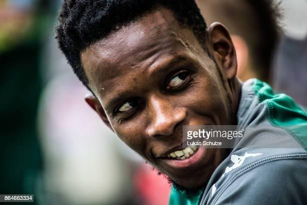 Ibrahima Traore of Moenchengladbach smiles prior to the Bundesliga match between Borussia Moenchengladbach and Bayer 04 Leverkusen at BorussiaPark on...