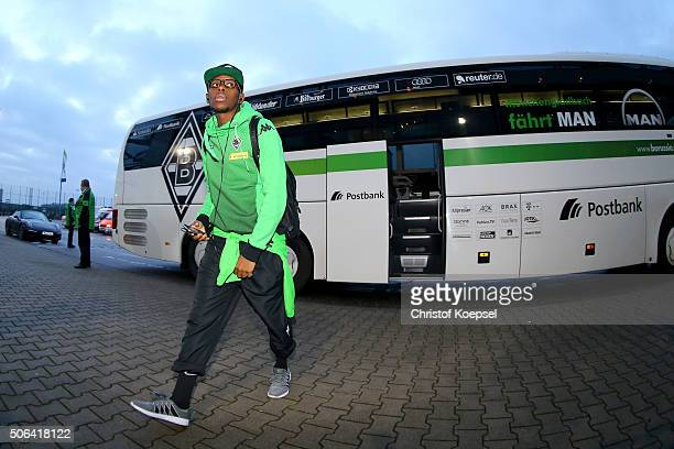 Ibrahima Traore of Moenchengladbach walks out of the bus prior to the Bundesliga match between Borussia Moenchengladbach and Borussia Dortmund at...