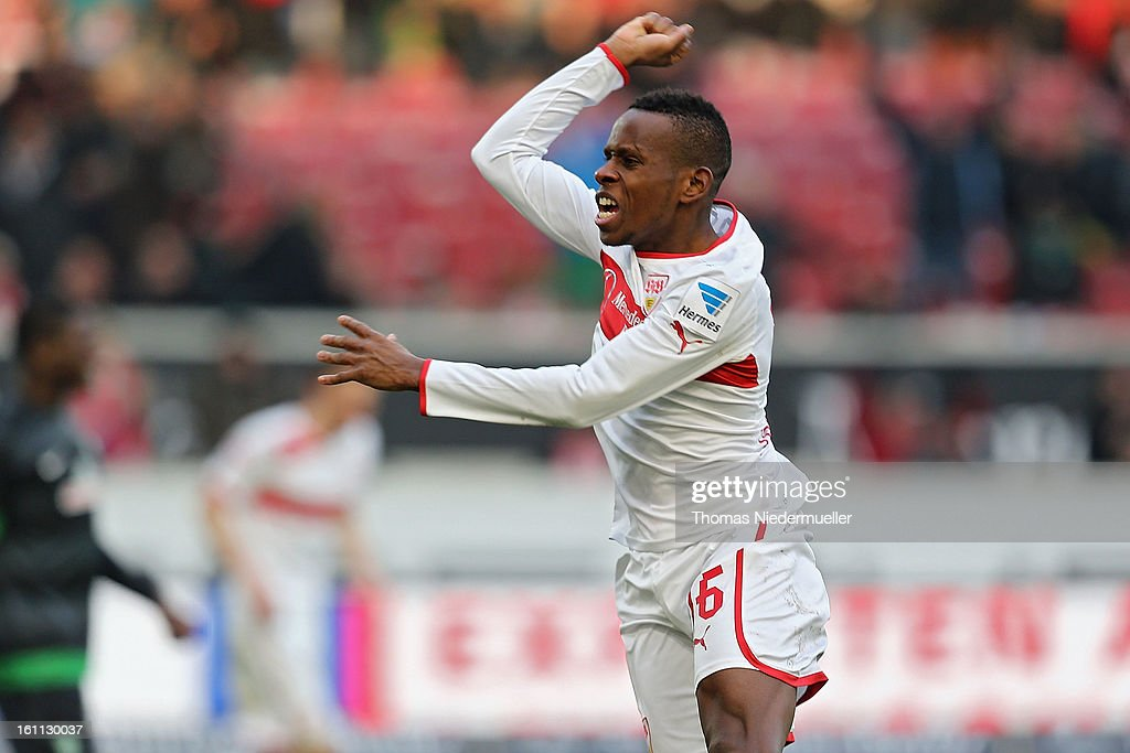 Ibrahima Traore of Stuttgart celebrates his goal during the Bundesliga match between VfB Stuttgart and Werder Bremen at Mercedes-Benz Arena on February 9, 2013 in Stuttgart, Germany.