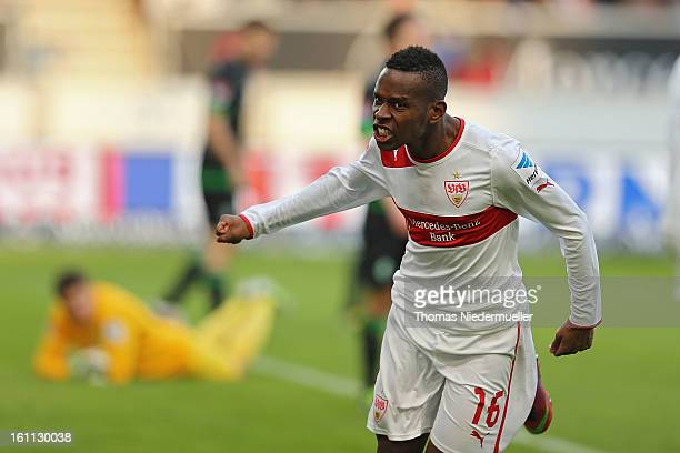 Ibrahima Traore of Stuttgart celebrates his goal during the Bundesliga match between VfB Stuttgart and Werder Bremen at MercedesBenz Arena on...